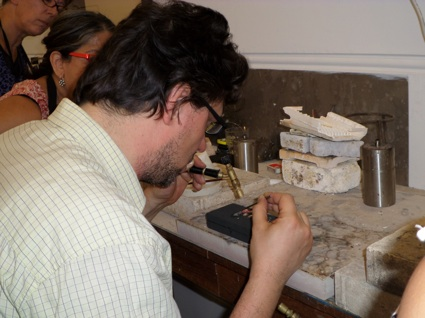 Stefano soldering the tiny precious metal mosaics.