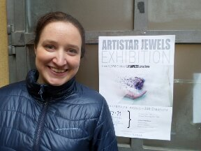 Hannah outside the Aristar Jewels exhibition.