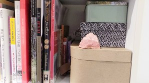The rock mined from Choice Mate sits on a shelf amongst jewellery books.