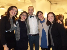 Hannah with the exhibition organisers in Milan, Italy.